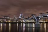 Millenium Bridge, Night Photography, St Paul's Cathedral, the Thames, London, England, Uk Photographic Print by Axel Schmies