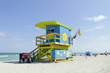 Beach Lifeguard Tower '74 St', Atlantic Ocean, Miami South Beach, Florida, Usa Photographic Print by Axel Schmies