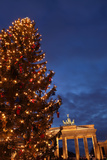 Germany, Berlin, the Brandenburg Gate, Night, Christmas Tree Photographic Print by Catharina Lux
