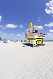 Beach Lifeguard Tower '16 St', Atlantic Ocean, Miami South Beach, Florida, Usa Photographic Print by Axel Schmies