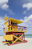 Beach Lifeguard Tower '3 Sts', Atlantic Ocean, Miami South Beach, Art Deco District, Florida, Usa Photographic Print by Axel Schmies