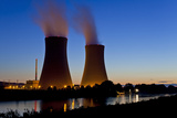 Germany, Weser Hills, Lower Saxony, Grohnde, Nuclear Power Plant, Sunset Photographic Print by Chris Seba