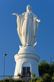 South America, Chile, Santiago De Chile, Mountain Cerro San Cristobal, Statue of the Virgin Mary Photographic Print by Chris Seba
