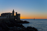 South America, Chile, Vina Del Mar, Pacific Coast, Wulff Castle, Sailboat, Sunset Photographic Print by Chris Seba