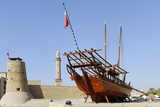Old Merchant Ship in Front of Dubai Museum, Deira, Dubai, United Arab Emirates Photographic Print by Axel Schmies