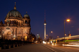Berlin, Cathedral, Construction Site, Barrier, Street Scene, Night Photographic Print by Catharina Lux