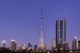 Burj Khalifa, the Highest Tower of the World in the Evening Light, Night Photography Photographic Print by Axel Schmies