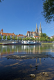 Germany, Bavaria, Regensburg, Danube Shore, Museum Ship, Cathedral Photographic Print by Chris Seba