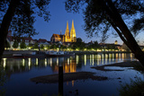 Germany, Bavaria, Regensburg, Danube Shore, Dusk, Cathedral Photographic Print by Chris Seba