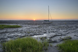 Germany, Lower Saxony, Friesland, the North Sea, Dangast, Mud Flats, Sundown, Sailboats Photographic Print by Axel Ellerhorst