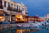 Greece, Crete, Rethimnon, Venetian Harbour, Illuminated, in the Evening Fotografisk tryk af Catharina Lux