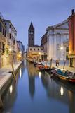 Italy, Veneto, Venice, Dorsoduro, Rio Di San Barnaba, Boats, Campo, Dusk Photographic Print by Rainer Mirau