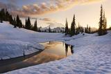 The USA, America, Washington, Mount Rainier, Tipsoo Lake, Lake, Reflexion, Winter, Snow, Light Photographic Print by Stefan Hefele