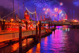 Fireworks, 823rd Hafengeburtstag, Anniversary of Harbour, the Evening Photographic Print by Thomas Ebelt