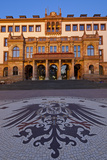 Europe, Germany, Hesse, Wiesbaden, Stone Mosaic Kaiseradlerwappen Infront of Townhall Stairs Photographic Print by Chris Seba