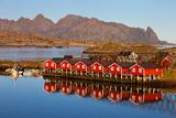Rorbuer, Huts, Coast, Water, Fjord, Sundown, Svolvaer, Lofoten, Norway Photographic Print by Dave Derbis