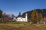Austria, Tyrol, Seefelder Sattel, Seefeld, Seekirchl in Autumn Against Northern Karwendel Range Photographic Print by Udo Siebig