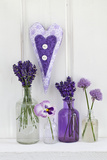 Lavender, Blossoms, Pansies, Chive Blossoms, Heart Photographic Print by Andrea Haase