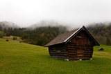 Gerolder Alm', Hut, Slope, Mountains, Fog, the Alps, Bavaria, Germany Photographic Print by Dave Derbis