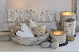 Decoration, White, Window Frames, 'Dream', Candles, Bowls, Mussels, Stones, Heart Photographic Print by Andrea Haase