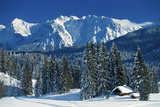 View over Winter Forest Near Elmau Towards Karwendel Mountains Photographic Print by Martin Kriner