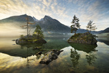 Lake Hintersee, Mountain, Lake, Alps, Water, Morning, Atmosphere, Islands, Trees, Autumn Photographic Print by Stefan Hefele