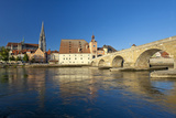 Germany, Bavaria, Regensburg, the Danube, Old Stone Bridge, Cathedral, Salzstadel House Photographic Print by Chris Seba