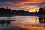 Woodland, Lake, Sundown, Fir Trees, Water, Red, Clouds, Ice, December Photographic Print by Stefan Hefele