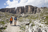 Hiker in the Vallonkar, in Front of BoŽseekofel, the Dolomites Photographic Print by Gerhard Wild