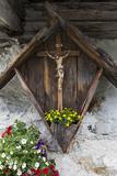 Austria, East Tyrol, Innergschlš§, Wayside Cross at Exterior Wall Photographic Print by Gerhard Wild
