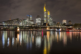 Germany, Hesse, Frankfurt Am Main, Financial District, Skyline with Iron Footbridge at Dusk Photographic Print by Bernd Wittelsbach