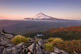 The USA, America, Mt. Hood, Mountain, Mirror Lake, View, Light, Atmosphere, Lake, Forest, Oregon Photographic Print by Stefan Hefele