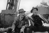 Bill Mccoy and Shipmate Pretending to Eat a Fish Photographic Print