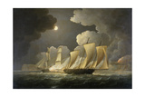 British Brig Attacking a French Lugger Ca. 1795-1825 Giclee Print by Thomas Buttersworth