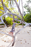European Woman, Seychelles, Praslin, Beach Photo Shooting, Sunrise, Fashion Photographic Print by Harry Marx