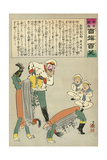 Russian Oshishi Acrobatic Street Dancer Master Entertains the Children of Japan Giclee Print by Kobayashi Kiyochika