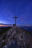 Peak Cross and Chapel at Geigelstein Mountain, Dusk Photographic Print by Stefan Sassenrath