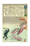 Russian Ships Jump into the Mouth of the Japanese Giclee Print by Kobayashi Kiyochika