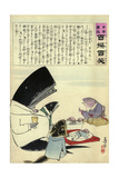 A Whale and Three Fish Sitting Down to a Formal Dinner of Russian Sailors Giclee Print by Kobayashi Kiyochika