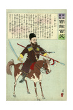 Russian Soldier on Horseback, Carrying a Sword, a Spear, and a Rifle Giclee Print by Kobayashi Kiyochika