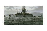 Sinking the Enemy Supply Ship Reproduction procédé giclée par Montague Dawson