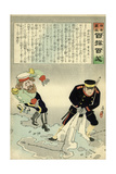 Russian Officer and a Japanese Officer Standing on a Large Map Giclee Print by Kobayashi Kiyochika