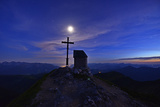 Peak Cross and Chapel at Geigelstein Mountain, Dusk with Full Moon Photographic Print by Stefan Sassenrath