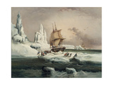 L'Astrolabe Caught in an Ice Pack, 9 February, 1838 Giclee Print by Auguste Etienne Francois Mayer