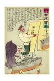 Russian Woman Dusting Old Battleship Giclee Print by Kobayashi Kiyochika