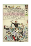Russians Fight Amongst Themselves as Japanese Soldiers Look on and Laugh Giclee Print by Kobayashi Kiyochika