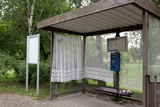 Germany, Brandenburg, Oder-Neisse Cycle Route, Curiosities, Bademeusel, Bus Stop with Curtains Photographic Print by Catharina Lux