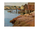 A Line of Fishing Shacks and Dock During Low Tide in the Gloucester, Massachusetts Harbor, C.1900 Giclee Print by Frank Duveneck