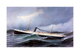 Steamship Seneca in Rough Seas Giclee Print by Antonio Jacobsen