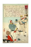 "Japanese Soldiers Feeding ""Yamato Damashii"" (Spirit of Old Japan) to the Russians Giclee Print by Kobayashi Kiyochika"